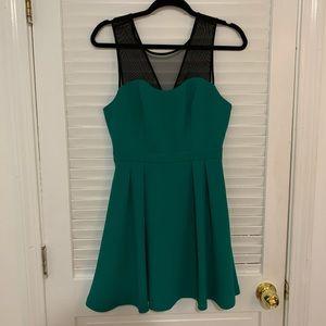 BCBG green mesh holiday dress